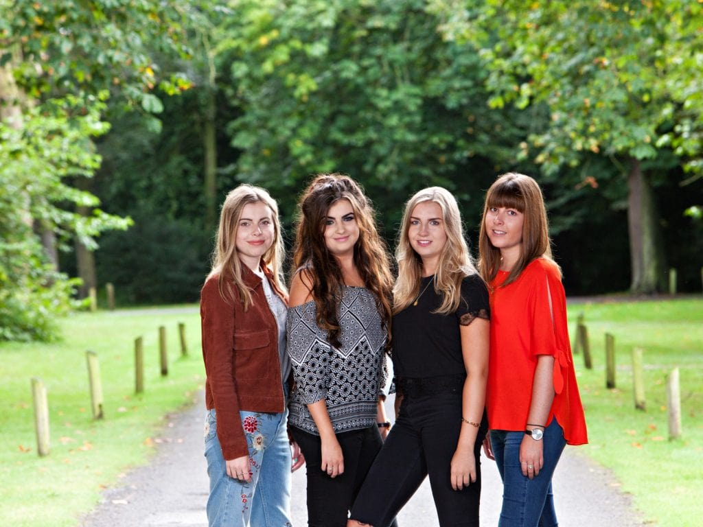 4 young adult cousins photographed at Crathorne Hall