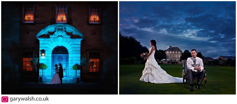 a montage of 2 wedding images night shots of Crathorne Hall and Headlam Hall