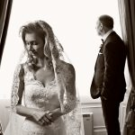wedding photography Bride and Father in bridal suite getting ready to leave at Wynyard Hall