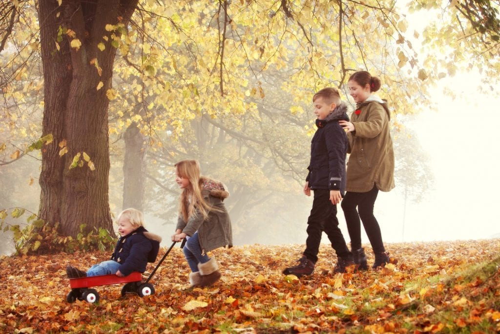 Location image of 4 cousins in the Autumn leaves at Hutton Rudby