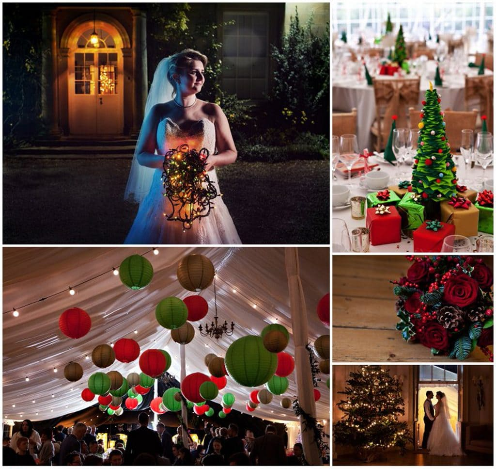 a montage of Christmas wedding images taken at Middleton Lodge Bride holding Christmas lights Groom by Christmas tree