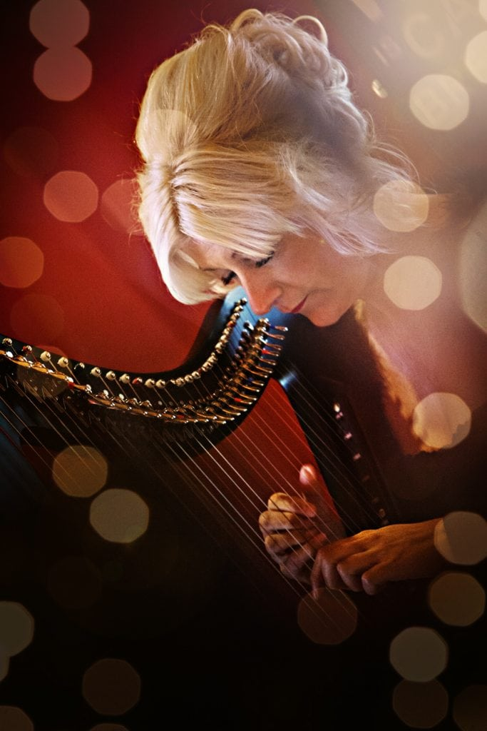 Harpist Anita Aslin with electric harp