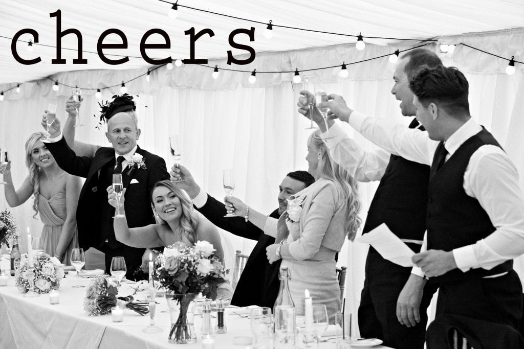 black and white image taken of the top table at Middleton Lodge