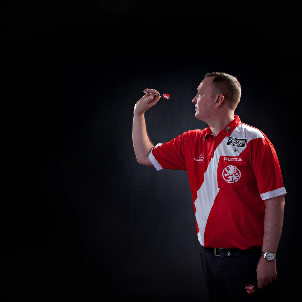 Studio portrait of world champion darts player Glen Durrant