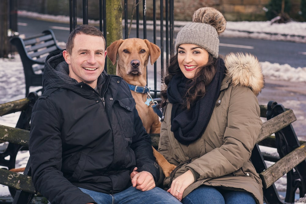 portrait of engaged couple with their dog Vincent taken on location at Stokesley