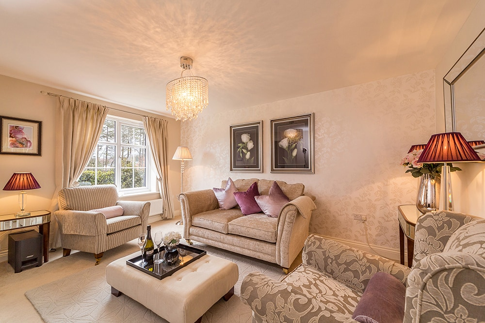 property photography, wide angle shot of the living room at Wynyard Billingham address.