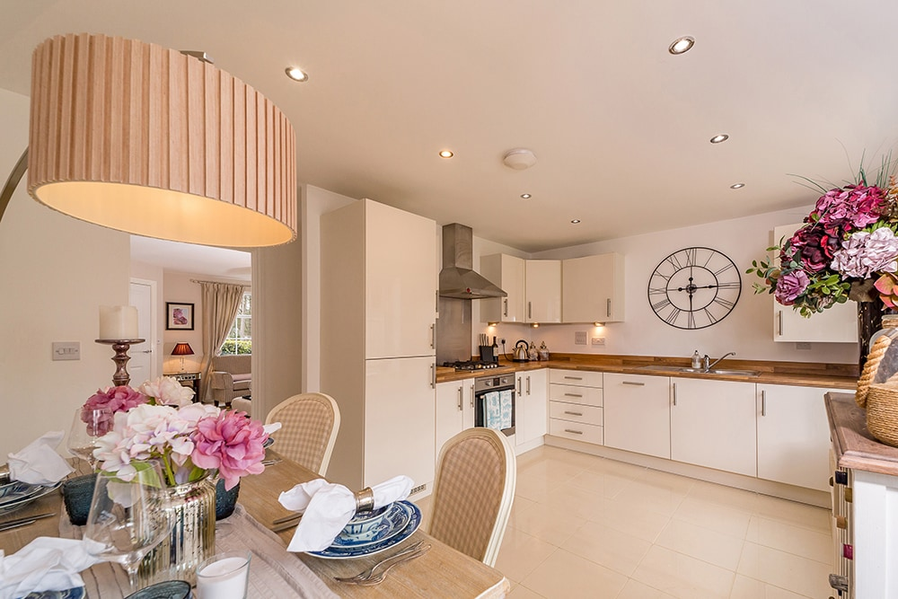 property photography, dining room shot in colour, looking through to living room at Wynyard Billingham house.