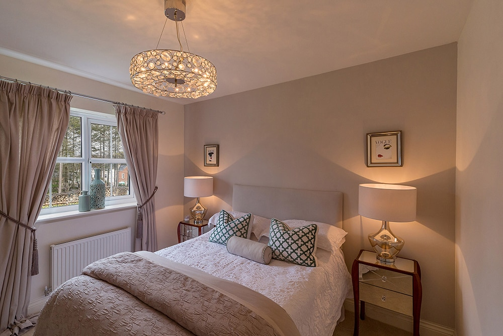 property photography, shot of master bedroom in colour at Wynyard Billingham house.