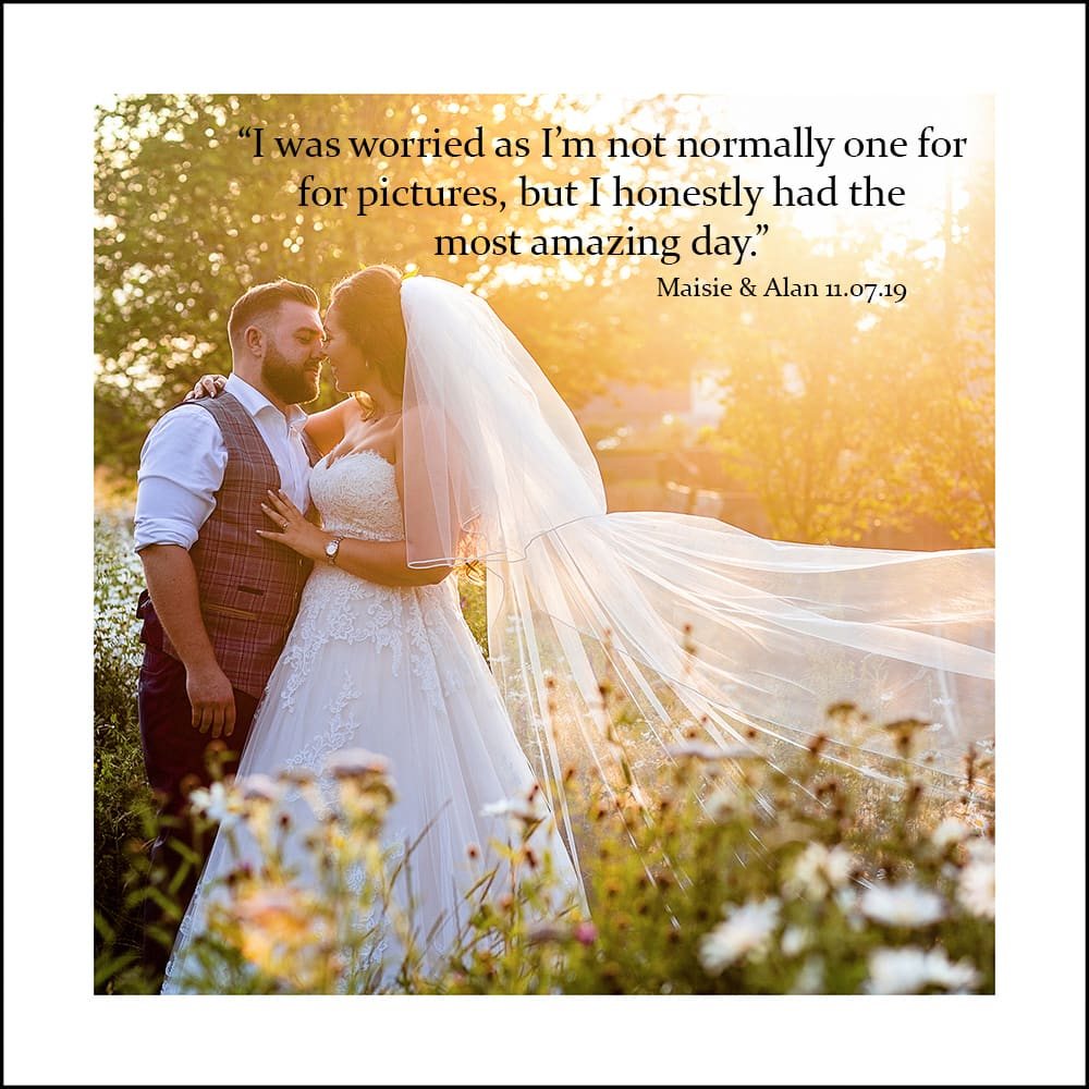 visual bride and groom at sunset, with text over the image