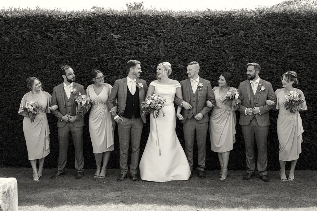 Headlam Hall bridal party in black and white