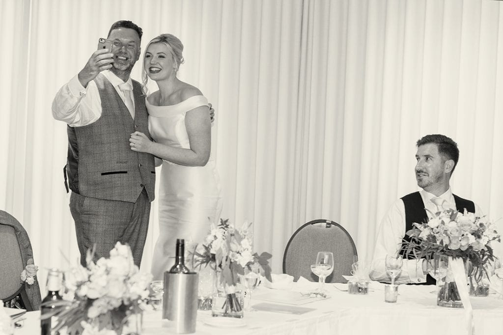Headlam Hall dad taking a selfie with his daughter during the speeches