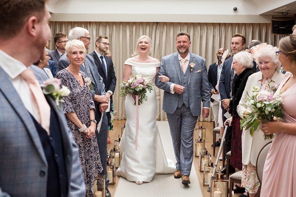 Headlam Hall bride and dad walking into ceremony