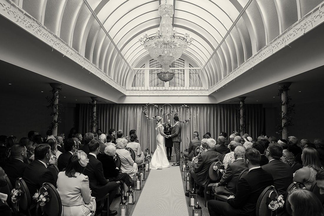 Headlam Hall black and white wide angle ceremony shot