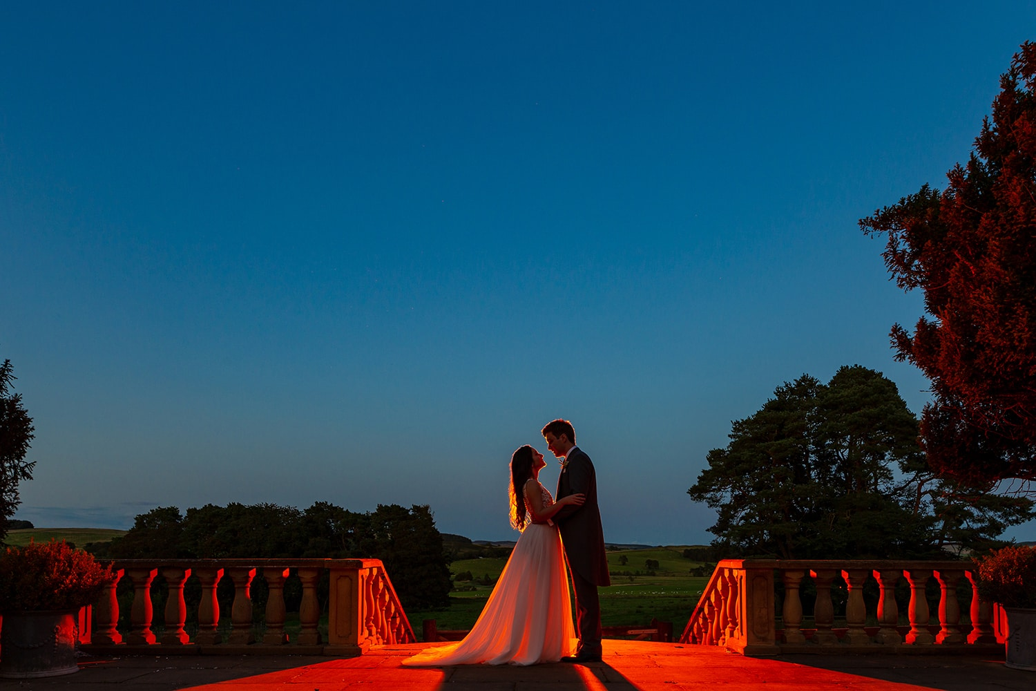 Award Winning North East Wedding Photography Bride and Groom outside at sunset