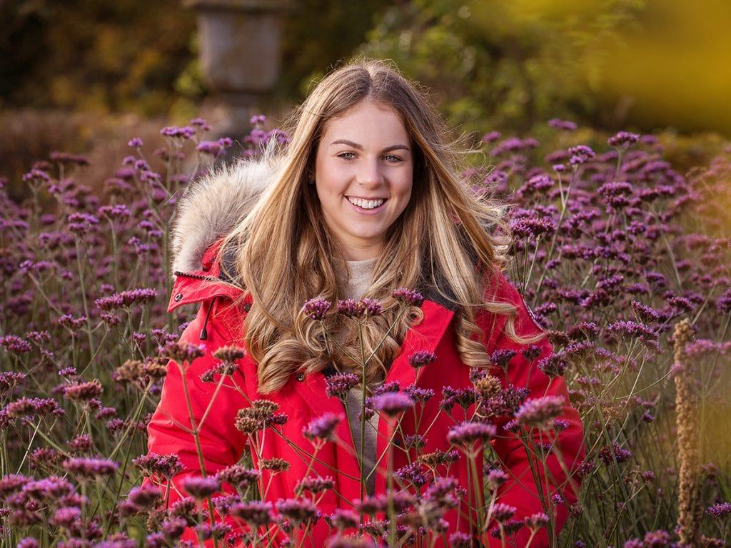 location portrait photography, taken in Wynyard Halls walled garden.