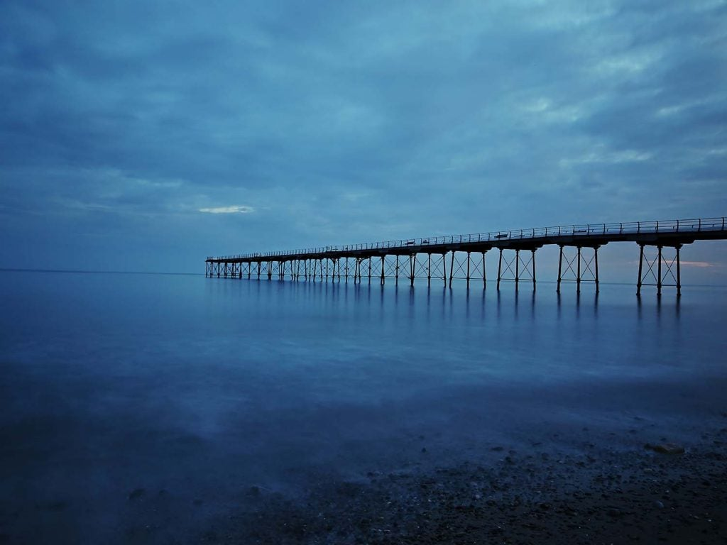Salburn pier photographed early in the morning.