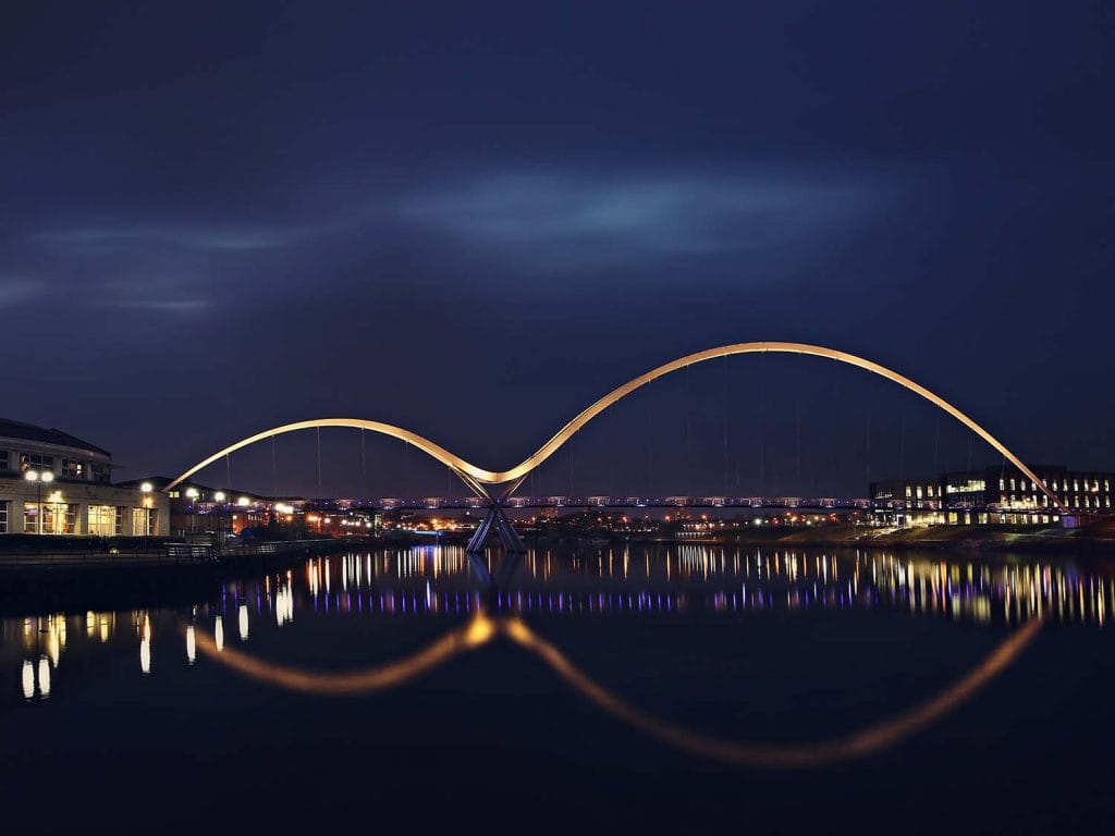 a night shot on The Infinity Bridge, Stockton on Tees.