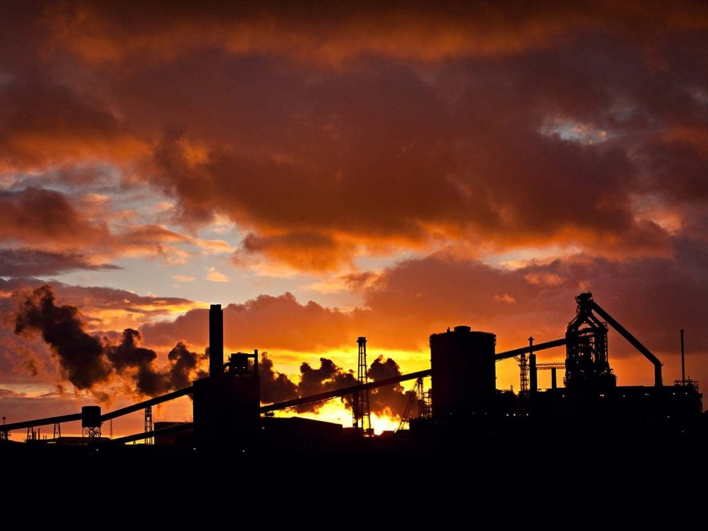 a silhouette sunset image of British Steel Redcar