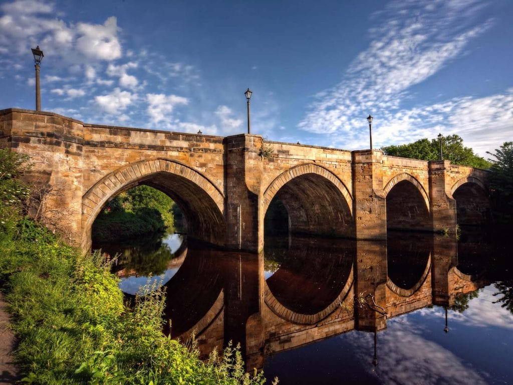 blue sky and sunshine photograph of Yarm viaducts