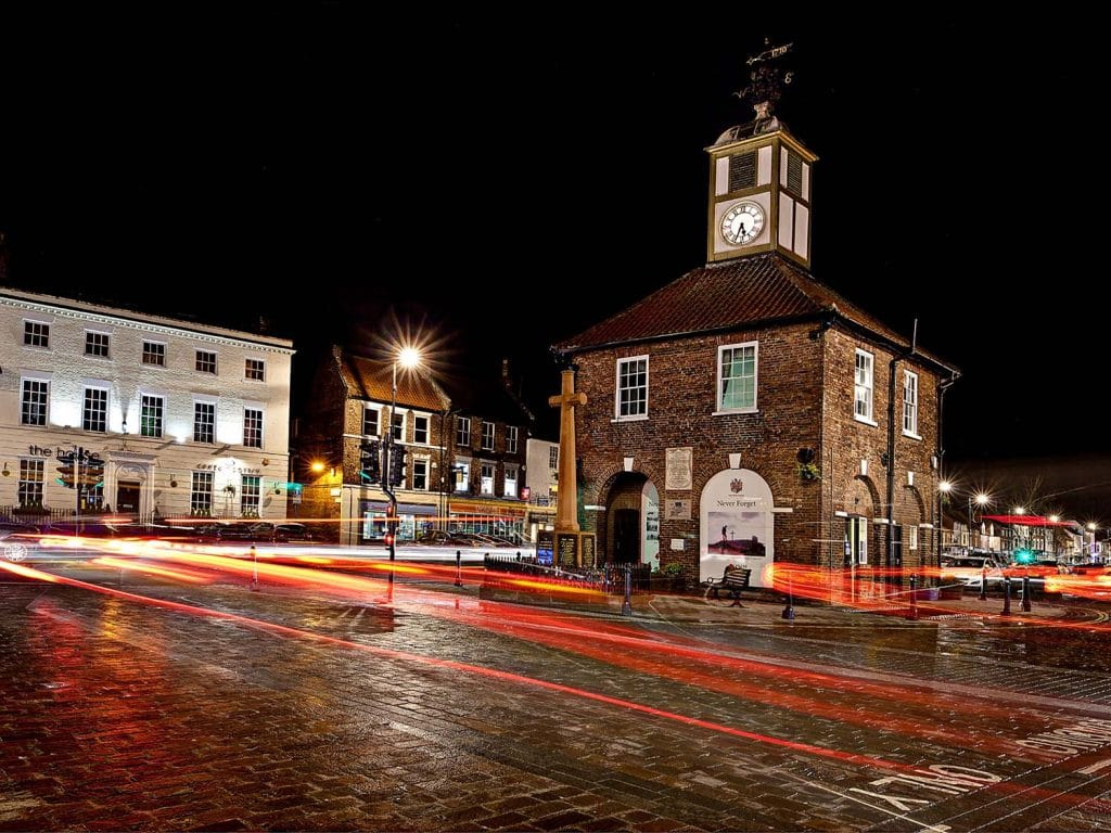 a night shot of Yarm town hall