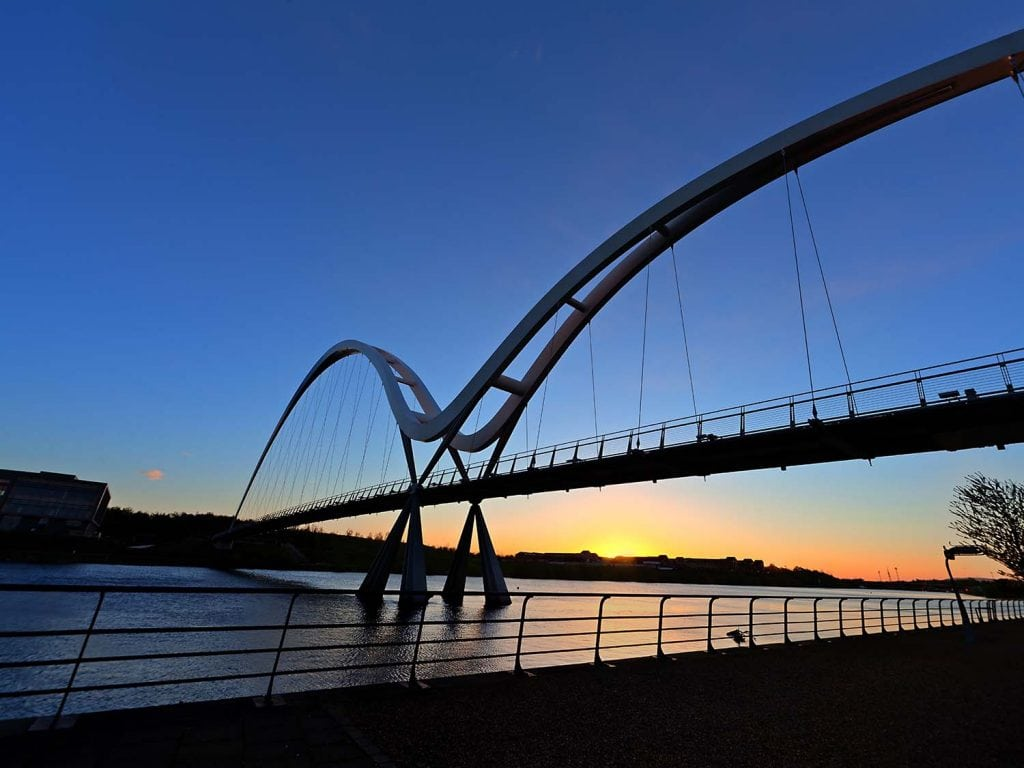 an early morning image of The Infinity bridge in Stockton on Tees.