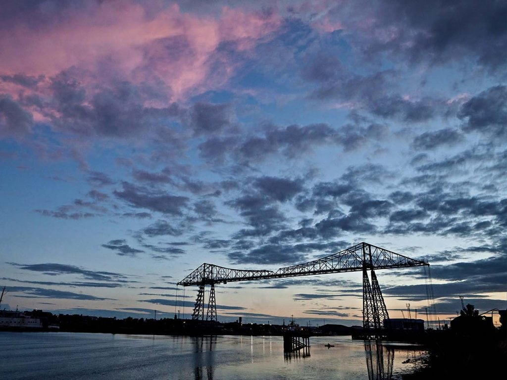 an early evening sunset image of the Transporter Bridge.