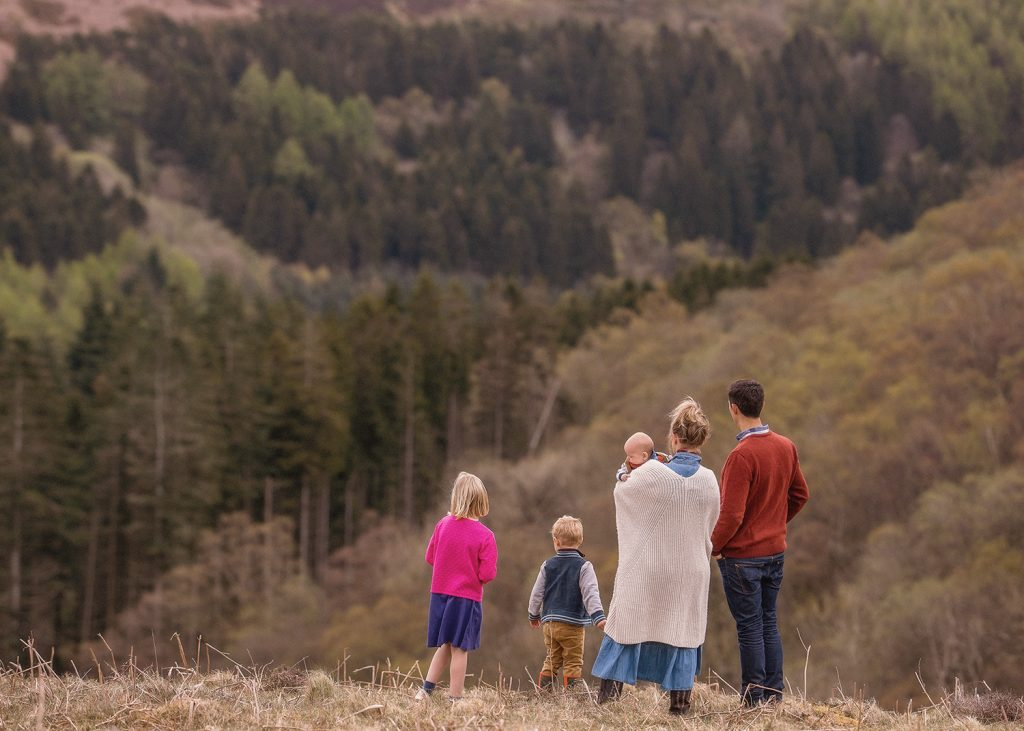 a family of 5 look out over the North Yorkshire Moors