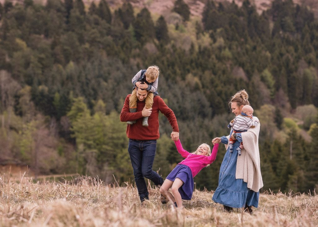 a family of 5 walking and having fun on the North Yorkshire Moors
